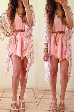 Floral light kimono and pink playsuit so girly and feminine x find more women fashion ideas on www.misspool.com