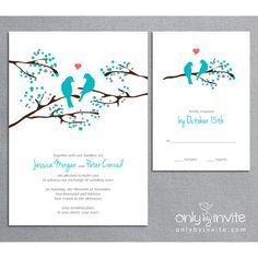Love Birds Tree - Whimsical Spring Printable Wedding Invitation DIY