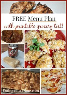 FREE Weekly Menu Plan - 5/23 - 5 delicious recipes, a dessert and a free grocery printable list, so you can shop and save!