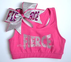 SET Pink FIERCE Sports Bra with Matching Bow by BowsWithAttitude, $36.95