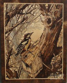 The Bird And Tree Marquetry Wood Work Sculpture
