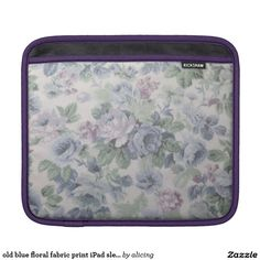 old blue floral fabric print iPad sleeve
