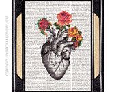 Anatomical heart SWEET HEART with vintage roses dictionary print book page art print dictionary art print love human heart 8x10, 5x7. $10.00, via Etsy.