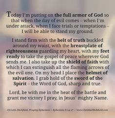 Praying the Full Armor of God Prayer | Christin Ditchfield, Praying Ephesians 6:14-17