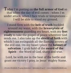 Praying Ephesians Full Armor of God Prayer | Christin Ditchfield