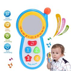 Coolplay Baby Music Phone Toy Language Mobile Phone with Color Button and Mirror