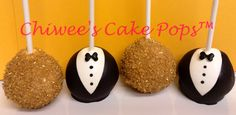 Oscar Gold & Black Tux cake pops