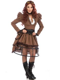 Adult Steampunk Women's Costume | Wholesale Steampunk Halloween Costumes for Womens