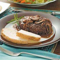 Salisbury Steak with Portobello Sauce Recipe -Looking for an easy way to turn Salisbury steak into something extra special? Dress up lean ground beef patties with this flavorful sauce from our Test Kitchen made with wine, shallots and mushrooms.