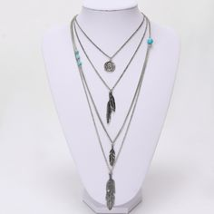 Hot Selling Jewelry Leaf Choker Collar Maxi Necklaces & Pendants Long Chain Multi Layer Necklace For Women Layered Pearl Necklace, Multi Layer Necklace, Silver Necklaces, Fashion Necklace, Fashion Jewelry, Venda On-line, Leaf Jewelry, Yoga Jewelry, Jewellery