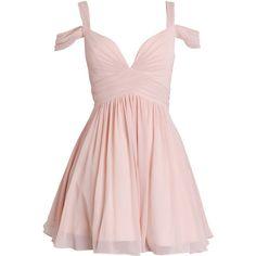 LILY - Dusty White Chiffon Prom Dress via Polyvore