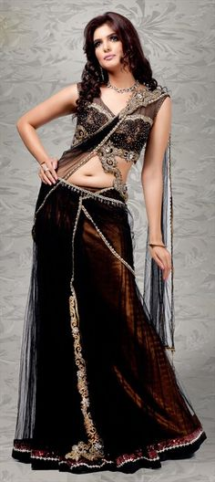 65807, Bridal Wedding Sarees, Net, Machine Embroidery, Sequence, Cut Dana, Stone, Kasab, Bugle Beads, Black and Grey Color Family