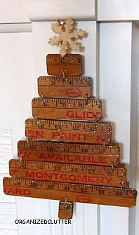 TREE: Vintage yardstick Christmas tree, by Organized Clutter featured on Funky Junk Interiors Stick Christmas Tree, Noel Christmas, Primitive Christmas, Rustic Christmas, Simple Christmas, Winter Christmas, Vintage Christmas, Christmas Ornaments, Xmas Tree