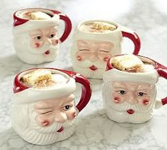 New Santa Figural Mugs , Mixed Set of 4 , from the Pottery Barn. Benefiting Give a Little Hope Campaign