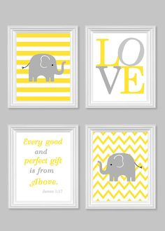 Elephant Nursery Art Gender Neutral Baby Decor Bible Verse Art Love Every Good and Perfect Gift Quote Pink Yellow Grey Jungle Nursery Zoo