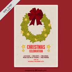 celebration poster with christmas wreath Free Vector