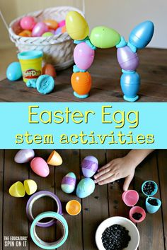 Now is the time for Easter Egg STEM activities for kids! Bring science, technology, engineering and math time into your springtime learning stations with Easter eggs. Easy to set-up experiments and activities for preschoolers ages 3 and up. Easter Activities For Preschool, Spring Activities, Preschool Activities, Preschool Eggs, In Kindergarten, Learning Stations, Learning Centers, Easter Eggs, Montessori