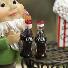 "Set of 2 Miniature ""Cola"" Bottles - Kitchen Miniatures - Dollhouse Miniatures - Doll Making Supplies - Craft Supplies"