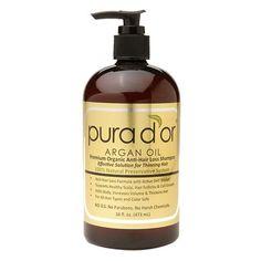 Pura d'or Argan Oil Premium Organic Anti-Hair Loss Shampoo, Gold Label