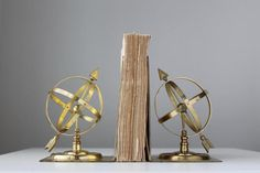 Vintage Armillary Sphere Bookends by tippleandsnack