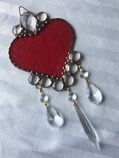 Stained Glass Heart SuncatcherHeartRed Heart With