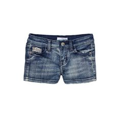 Littoe Potatoes Girls Denim Shorts ($28) ❤ liked on Polyvore featuring shorts, denim, short jean shorts, denim short shorts, jean shorts, denim shorts and adjustable waist shorts