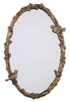 Uttermost 13575 P Paza Oval Mirror with Bird and Vine Detail Frame Distressed Antiqued Gold Leaf With A Gray Glaze. Home Decor Mirrors Lighting