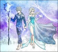 Jack Frost and Elsa by Kiarou