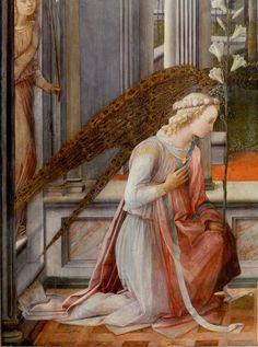 Filippo Lippi, Annunciation, detail of angel Gabriel, 1443 Fra Angelico, Italian Renaissance, Renaissance Art, Catholic Art, Religious Art, Saint Gabriel, Angel Images, I Believe In Angels, Renaissance Paintings