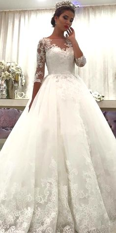 Attractive Tulle Bateau Neckline A-line Wedding Dress With Beadings & Lace Appliques