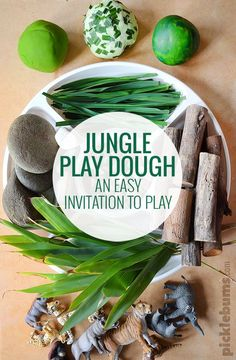 Play Dough Jungle Play Dough - an easy invitation to play which also makes a fabulous gift!Jungle Play Dough - an easy invitation to play which also makes a fabulous gift! Jungle Activities, Preschool Jungle, Playdough Activities, Preschool Activities, Rainforest Activities, Jungle Crafts, Rainforest Theme, Family Activities, Africa Activities For Kids