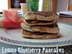 Lemon Blueberry Pancakes by Jo Stockton [It Ain't Meat, Babe] Maybe I'll make these tomorrow!