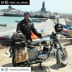 "Meet @men_on_bikes aka KT who recently rode all the way from Pune to Kanyakumari covering close to 4000 kms... Here is his #storiesofmotorcycle ""So whats new in this when there are so many riders who crisscross the country on their long trips? Well how about doing it Solo on a 42 year old #2stroke a 1974 Limited Edition 250 cc #Jawa that looks as new as it must have left the factory originally. I have been riding since the year 2000 and was always inclined towards 2 strokes. Those days…"