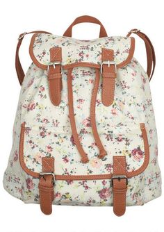 Canvas Backpacks Ivory Floral. I'd be happy to wear this backpack!