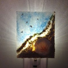 Nightlight with Sand Dollar and netting Green and by JabberDuck, $29.00