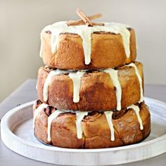 Three-tiered cinnamon roll cake. Create this dazzling main attraction for a holiday party, wedding or special celebration.