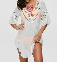 [EBay] Beach Cover Up Rayon Embroidery Bikini Cover Up Kaftan Beach Saidas De Praia Swim Cover Up Pareos Para Playa Robe De Plage