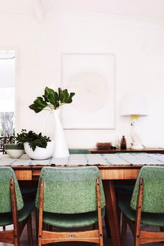 These spring green speckled dining chairs