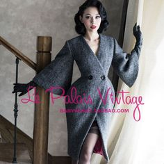 Le Palais Vintage Limited Edition Noble Elegant Grey Slim Waist Flare Sleeve Woolen Coat