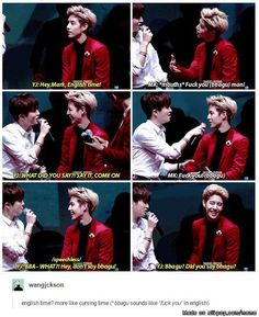 Yeah, Bam defiantly learned his swearing from Mark -_- | allkpop Meme Center