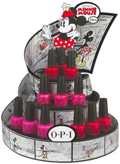 """Minnie Mouse OPI Nail Polish Line set up a """"Minnie Manicure"""" table at party Pos Display, Display Design, Counter Display, Product Display, Shelf Display, Rack Design, Shelf Design, Booth Design, Opi Nail Polish"""