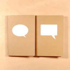 Speech Bubbles White  Screenprinted Kraft Pocket by oneupdesigns, $6.00