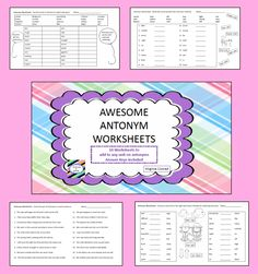kids will be awesome with antonyms after they complete these 10 worksheets