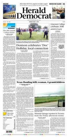 A preview of Sunday's front page. See more at heralddemocrat.com.