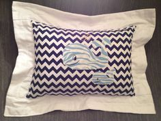 Pillow: Mamma and Baby Whale handmade appliqués on Navy/White Chevron, personalized neutral nursery pillow on Etsy, $58.00