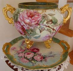 Antique Limoges France Hand Painted porcelain Jardiniere with hand painted…