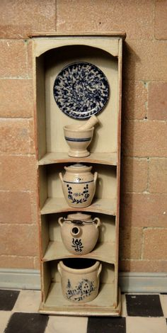 Artisan Signed Country Cupboard Filled with IGMA Artist Jane Graber's Stoneware in Dolls & Bears, Dollhouse Miniatures, Artist Offerings Mini Kitchen, Miniature Kitchen, Antique Dollhouse, Dollhouse Miniatures, Country Cupboard, Scale Art, Country Signs, Tiny World, Barbie Accessories