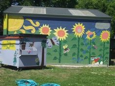 Shed with mural