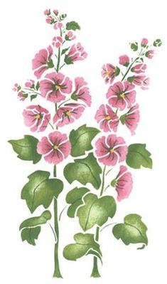 Large Hollyhock Flower Wall Stencil