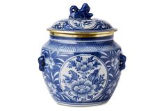 """6"""" Foo Dog Two-Panel Canister, Blue $59"""